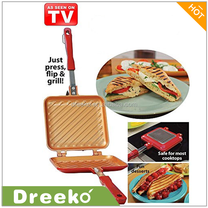 Red Die Casting Double Side Grill Pan As Seen On TV
