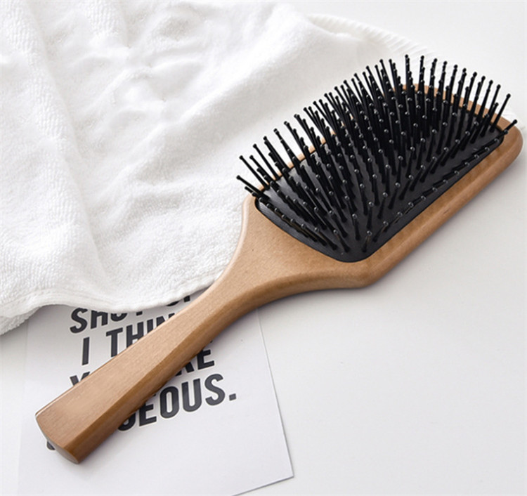 Natural beech unisex wooden+silicone wood comb hair Air bag massage