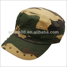 Cheap navy camouflage military officer hat with rivet
