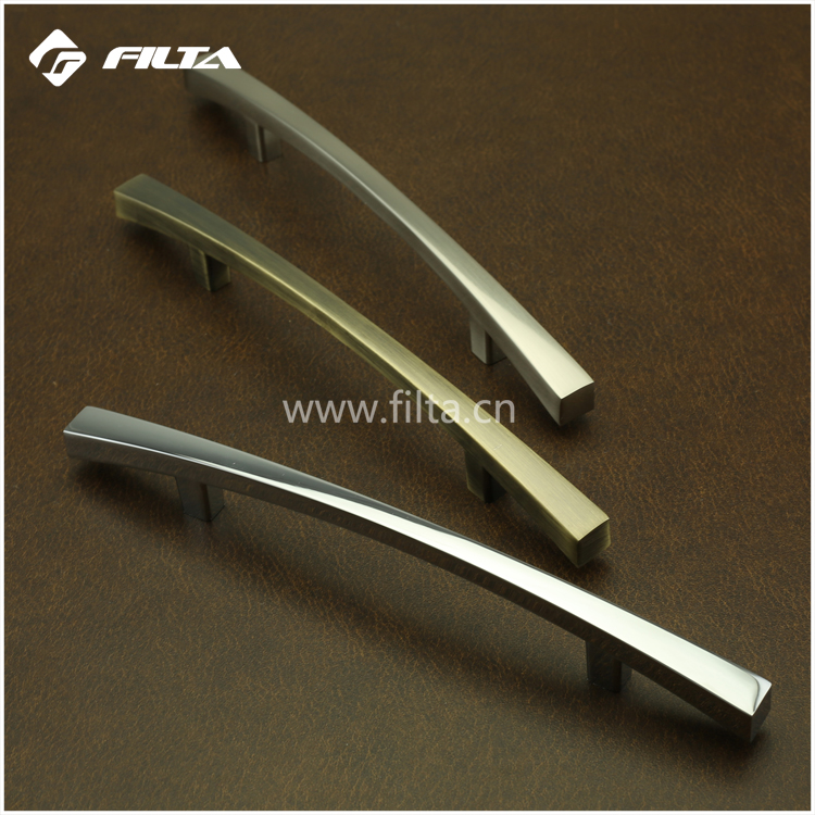 T bar pulls curved modern design bedroom furniture hardware supplier brushed nickel cabinet handles
