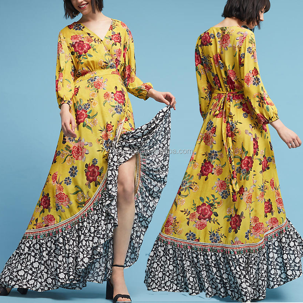 Bohemian Front Button Down Vintage Long Sleeve One Piece Maxi Dress african kitenge dress designs HSd5170