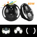 "7"" 7inch 60W LED Headlight Assembly with Halo Ring Angel Eye & DRL & Turn Lights for Jeep Wrangler Harley"