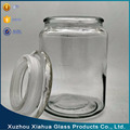 650ml Round Shaped Transparent Glass Storage Bottle with Glass Lid
