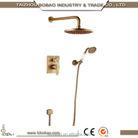 Most Popular Triple Functions In-wall Antique Brass Telephone Design Hidden Shower Set With 8'' Shower Panel And Shower Faucet