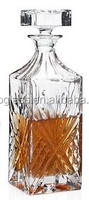 750ml Glass whiskey Decanter, Machine-made high quality clear square whisky bottle, glass decanter with stopper