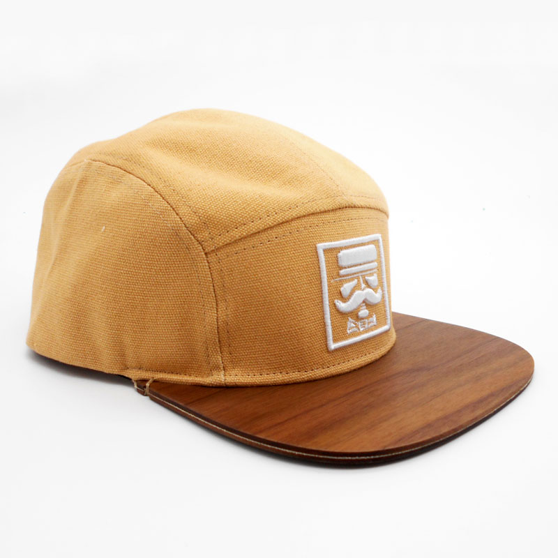 Khaki canvas puff old man 5 panel walnut blank brim snapback cap black men design front embroidery volley hat