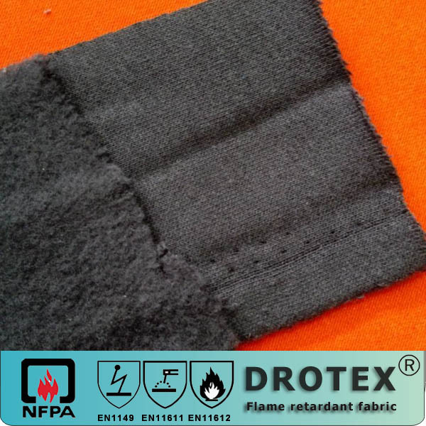 Modacrylic Cotton blend flame retardant anti-static knitted fabric with one side brushed fleece