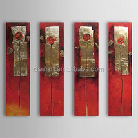Four Piece Chinese Traditional Gold And The Red Flowers Wall Art 100% Handmade Oil Painting In Canvas