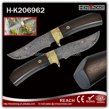 Wooden Handle Damascus Steel Fix Blade Knife Rescue Knife