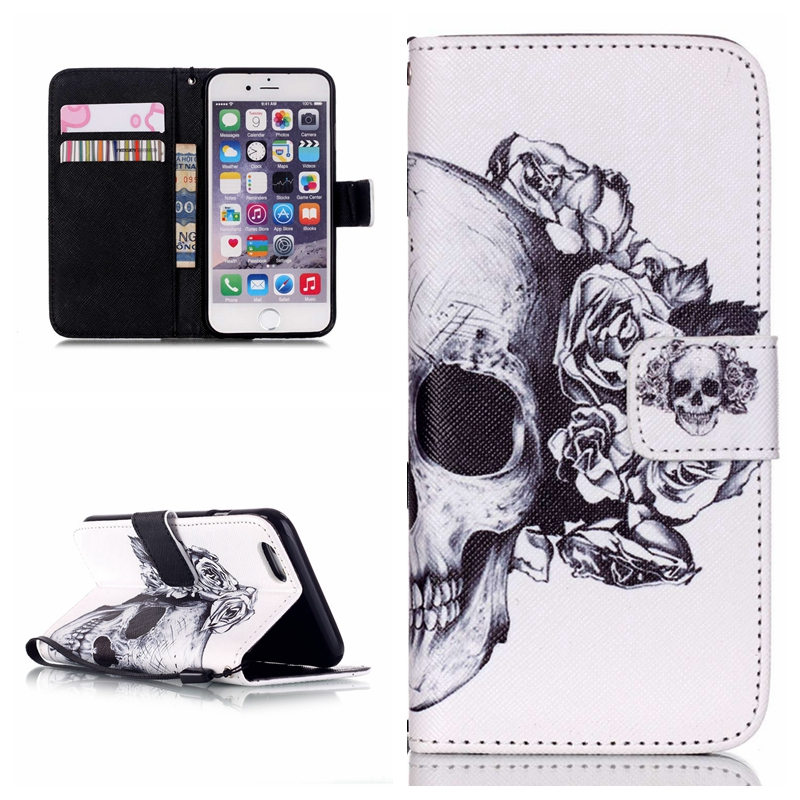 Flower Skull Flip Leather Wallet style Cover Case For iPhone 6 5S 5SE Stand Protective phone Lanyard Bag