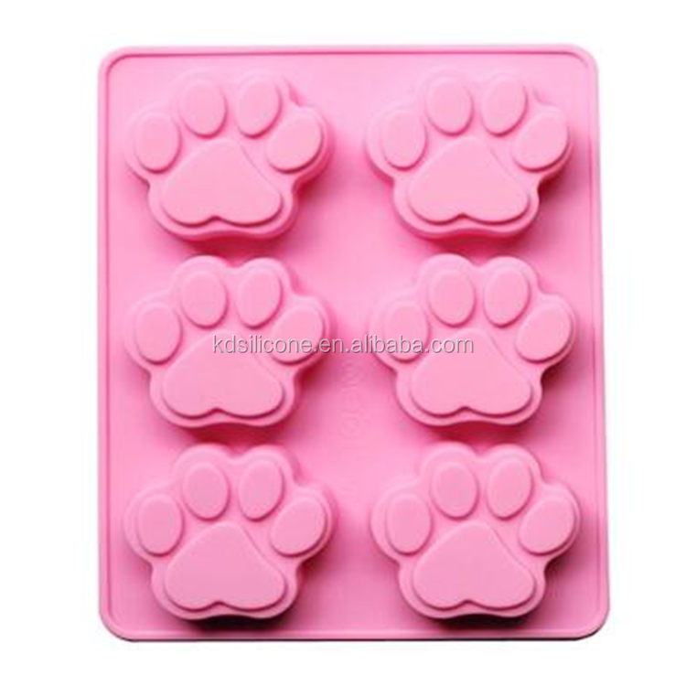 6 Cavity Silcone Dog Paw Cake Mold Non Stick Chocolate Molds Footprint Cookie Pan