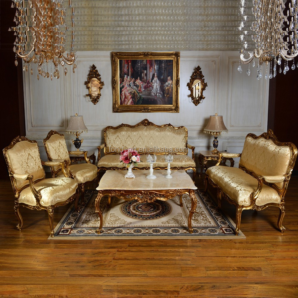 C89 Fabric Antique Gold European Style Set Sofa from DongGuan