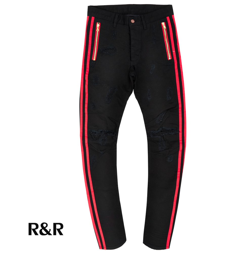 wholesale street wear clothing patterned men skinny black jeans with double red strips track pants embroidery patchwork denim