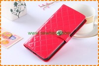 Wholesale Grid Pattern PU leather mobile phone cover flip wallet case For Samsung S7