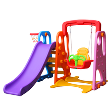 Kids plastic play slide swing combined toy