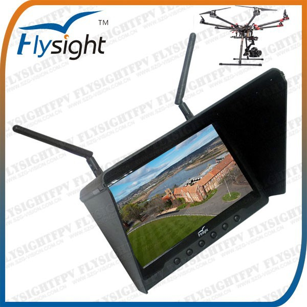 "H553 New 2015 7"" LCD FPV Monitor and 5.8G Wireless AV Receiver Built-in Battery for RC Electric Glider With Support Free Sample"
