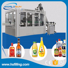 Automatic glass bottle filling capping and labeling machine for beer