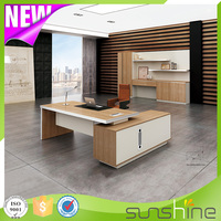 BS-Z2090 Chinese Furniture Office Table L Shape Fancy Office Desk With Aluminum Alloy Edge