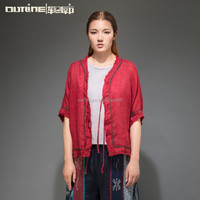 2015 Latest summer blouse shawl cardigan coat red thin blouse ethnic blouse 100 cotton blouse