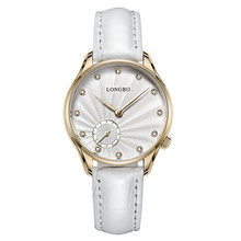 Longbo brand super thin water resistant slim stone quartz hand watch for girl