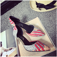 SAA40130 Fancy color splicing plaid pointed toe ladies 7cm thin heel shoes
