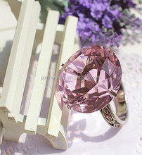 Decorative Pink Crystal Glass Napkin Holder Metal Ring For Christmas Decoration MH-CJ0017