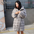 CX-G-A-92 Breathable Woman Full Pelt Natural Knitted Real Mink Fur Coat