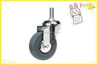 Grey Rubber wheels With Screw Swivel M10*30