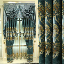 Blue embroidery luxury european style window curtain