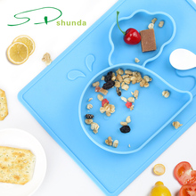2018 Amazon New Products Wholesale Placemats BPA Free Non-slip Animal Shaped Silicone Baby Placemat With Plate For Kids