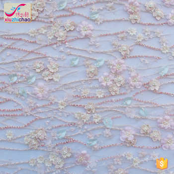 XM1207 Fancy lace Hot sale 3D flowers Bridal Decorative design embroidery dress lace fabric with full machine beads