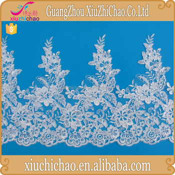 fancy white design wedding embroidery design lace with sequins