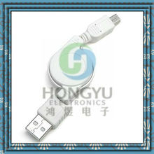 USB A M to Mini 5P retractable usb data cable