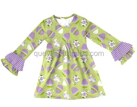 Made in china easter egg new products 2017 long sleeve ruffle dress birthday gift for girl child