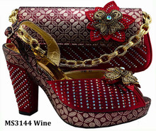 MS3144 wine sexy african noble lady elegant shoes Italian high heel shoes and matching women bag for dresss