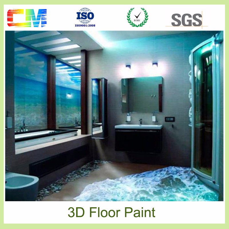 2016 New product environmental friendly epoxy resin 3d floor paint with low price