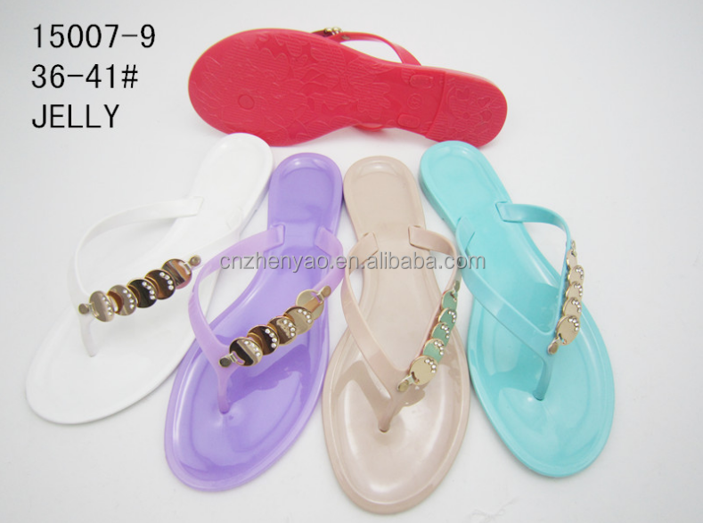 2015 wholesale footware design metal jelly slippers candy color shoes women