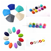 BPA Free Chewing Silicone Faceted Flat Oval Beads Silicone Oval Beads