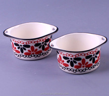 Wholesale colorful painting ceramic bowl, ceramic ramekin with handles from oven to table