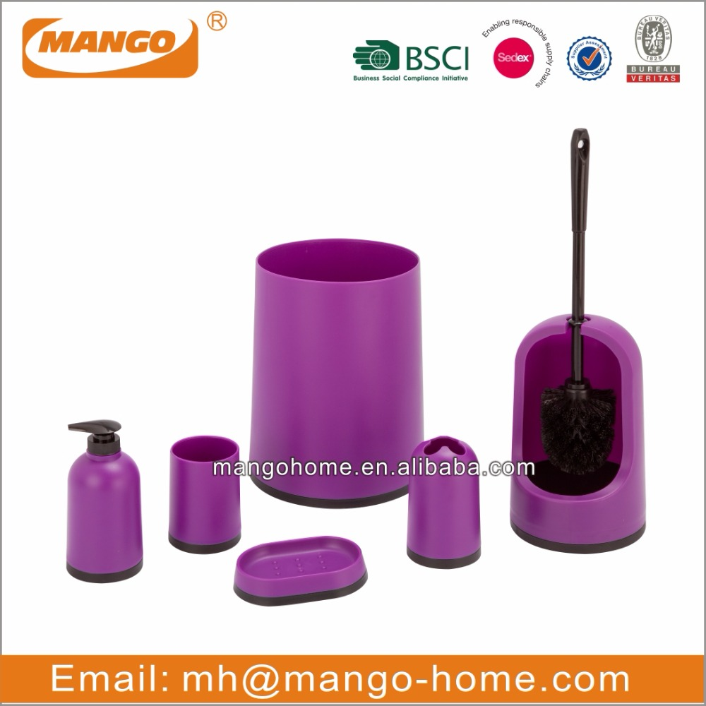 Plastic bathroom sets - 6pcs Purple Plastic Bathroom Set