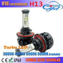 H13 LED Headlight Bulbs,V18 9008 LED Headlight Hi/Lo Beam Conversion Kit 120W 12000lm/Set with High Power CR EE XHP50+XML2 Chip