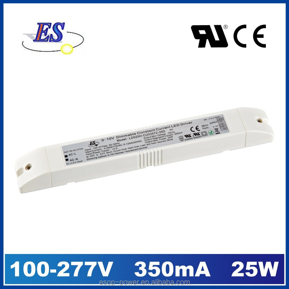 25W 350mA 72V AC-DC LED Driver power supply by 1-10V dimming with CE UL