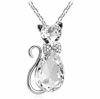 Golden/Silvery Rhinestone Crystal Lovely Cat Charm Pendant Necklaces Long Chain Fashion Drilling Necklaces for Women