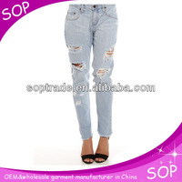 new stylish slim sex acid wash jeans with hole china manufacturer
