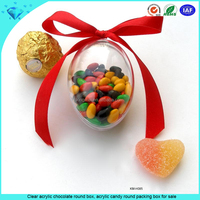 Clear acrylic chocolate round box, acrylic candy round packing box for sale