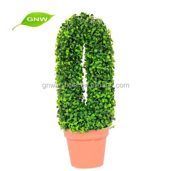 BOX1020 GNW plastic artificial green hedge wholesale outdoor artificial boxwood wreath