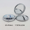 Wholesale round custom printing silver compact mirror for promotion