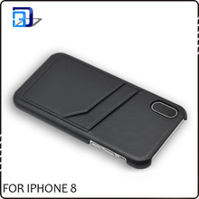 Newest mobile accessory card slots case genuine leather phone case for iphone 8