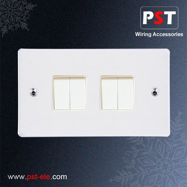 Top Selling 10A 4 Gang 2 Way Plate Switch UK/BS Switch