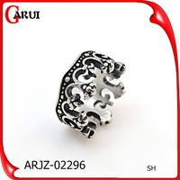 crown shaped 316l stainless steel mens rings jewelry
